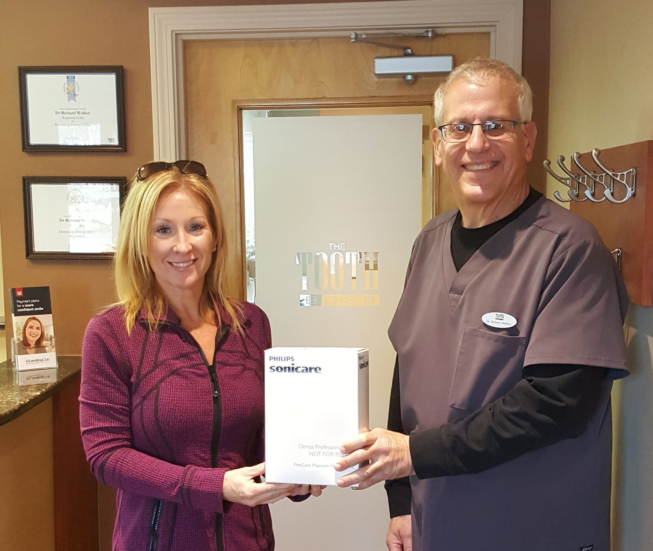 photo of Smiling Neighbor Christine Donovan, owner of Hair Essentials and The Toothboss, South Weymouth Dentist Dr. Richard Wolfert, DMD.